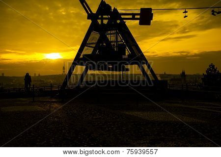 Prague Metronome At Romantic Sunrise