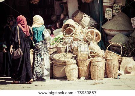 Marrakesh,Moroco,August 17,2013:Traditional Moroccan Market