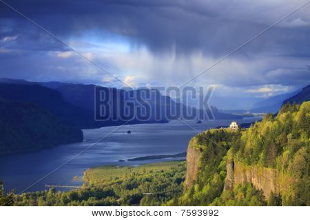 Changing weather in the Columbia Gorge Oregon.