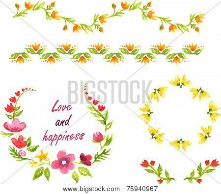 Watercolor decorative elements with yellow and pink flowers