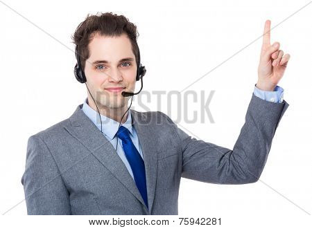 Customer services with finger point up