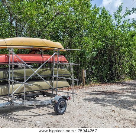 Four Kayaks In A Trailer