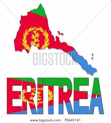 Eritrea map flag and text vector illustration