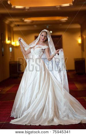 Young beautiful luxurious woman in wedding dress posing in luxurious interior