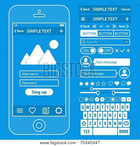 UI elements blueprint design vector kit in trendy color with simple mobile phone, buttons, forms, wi