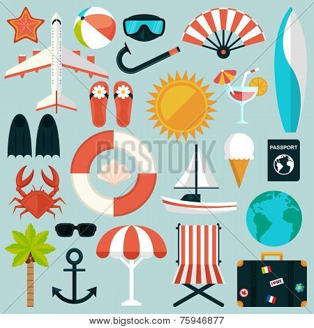 Set of flat summer rest icons. Traveling, tourism, vacation theme
