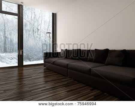 3D Rendering of Large brown upholstered sofa in a minimalist living room interior with white brick walls and a hardwood floor and floor-to-ceiling windows overlooking a garden
