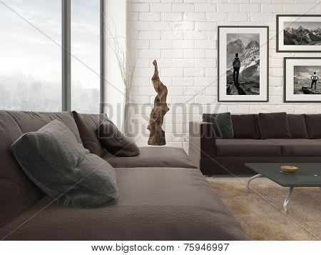3D Rendering of Modern living room interior with abstract artwork, pictures on the wall and two large sofas in a corner angle with floor-to-ceiling view windows