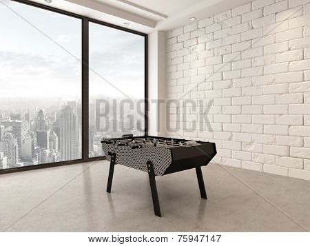 3D Rendering of Gaming table in a spacious white painted brick playroom with large bright panoramic windows overlooking a city