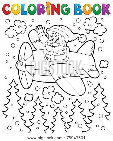 Coloring book Santa Claus in plane - eps10 vector illustration.