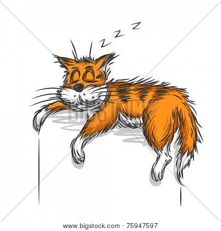 Vector sketch of sleeping cat