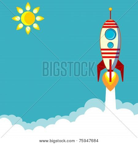 Flying Rocket with Illyuminotor and Flames from the Engine  Contour vector