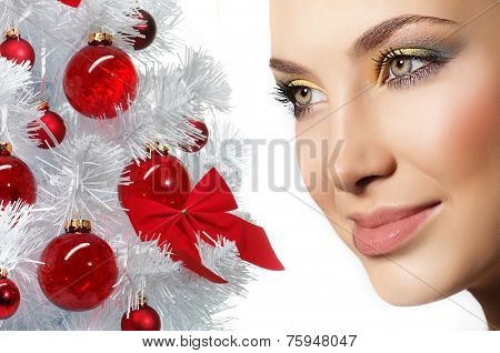 closeup portrait of attractive  caucasian smiling woman brunette isolated on white studio shot lips face closeup  head skin care eyes new year tree christmas