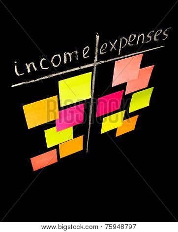 Comparison Of Income And Expenses With Color Sticky Notes