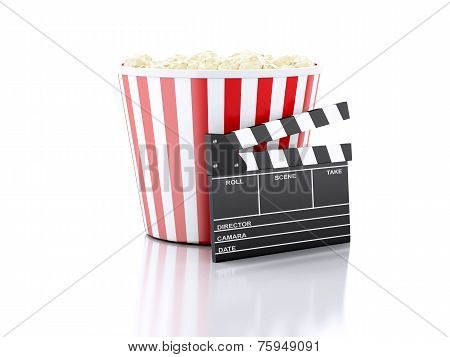 3d cinema clapper and popcorn