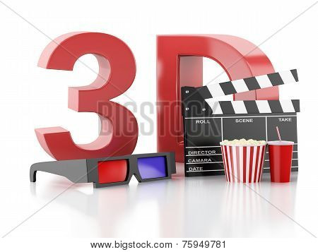 cinema clapper, popcorn and 3d glasses. 3d illustration