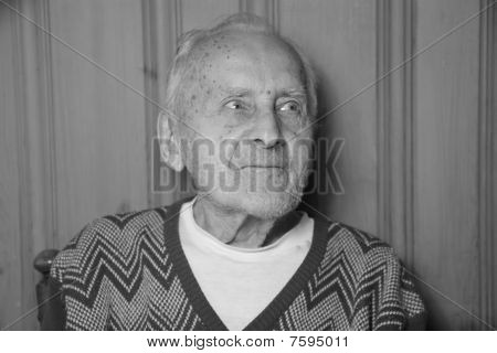 ninety two year old man in black and white