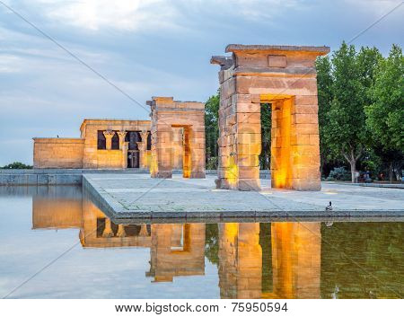 Sunset over the Temple de debod in Madrid, Spain