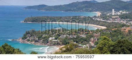 Panorama Aerial view of Bay and tropical beach,kata karon and  katanoi, in Phuket Thailand