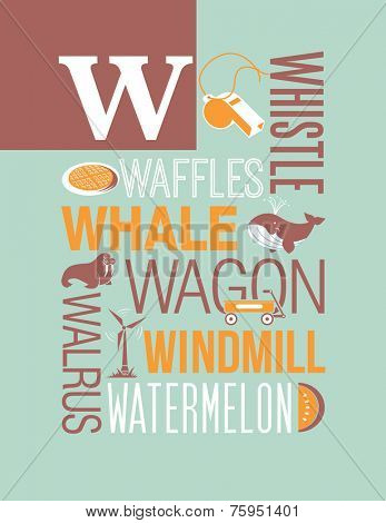 Letter W words typography illustration alphabet poster design