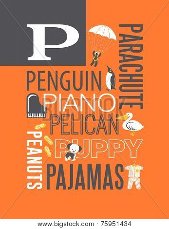 Letter P words typography illustration alphabet poster design