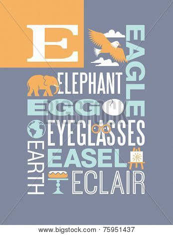 Letter E words typography illustration alphabet poster design