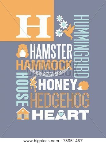 Letter H words typography illustration alphabet poster design