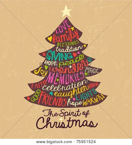 Christmas tree typography card design