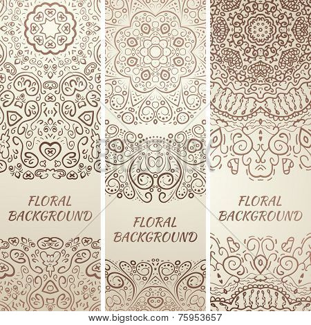 Tribal ethnic grunge banners. Vector illustration
