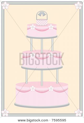 Pink Wedding Cake in Silver Frame
