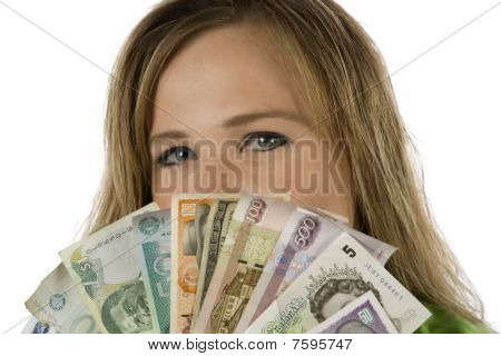 Woman Behind Different Currencies