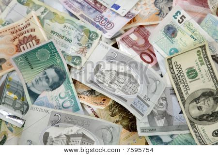 Pile Of Different Currencies