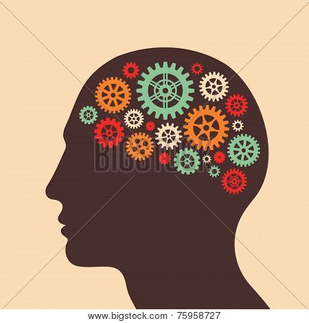 Human head and brain process - vector concept illustration in flat design style for business present