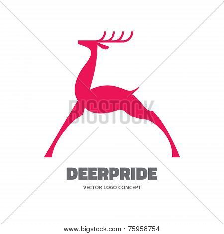 Deer pride - vector logo illustration. Deer logo template. Deer silhouette sign. Design element.