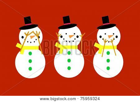 Snowmen on a red background doing see no evil, hear no evil, speak no evil poses