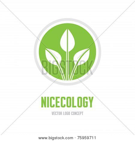 Nice ecology - vector logo concept. Leaves ecology vector illustration. Abstract vector logo sign te