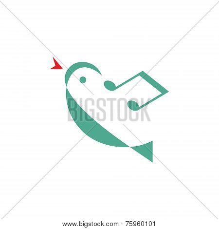 Bird melody - vector logo concept illustration. Minimal style. Music logo concept. Vector logo templ