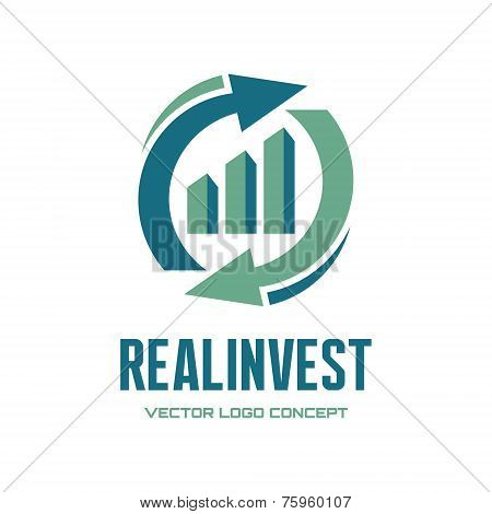 Real Invest - vector logo concept. Business finance logo. Business economic logo. Arrows and infogra