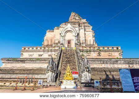 Ancient pagoda at Wat Chedi Luang temple in Chiang Mai, Thailand