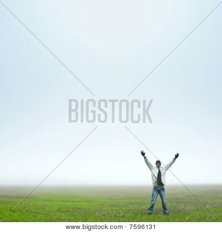 Man Happy In Field