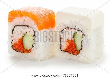 Two Japanese Rolls On White