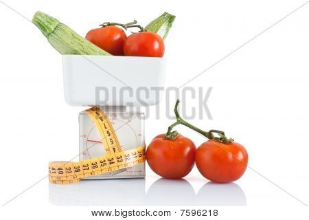 Courgettes And Tomatoes On Balance