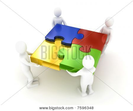 Puzzle over white Background. 3D gerenderten Bild