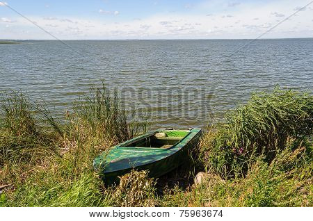 Duralumin Fishing Boat On The Lake