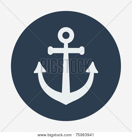 Pirate or sea icon, anchor. Flat design style modern vector illustration.