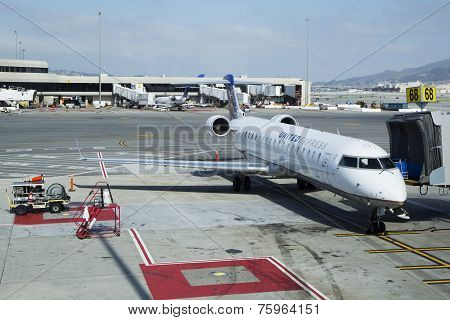 United Express Canadair CRJ-700 plane at the gate in San Francisco International Airport