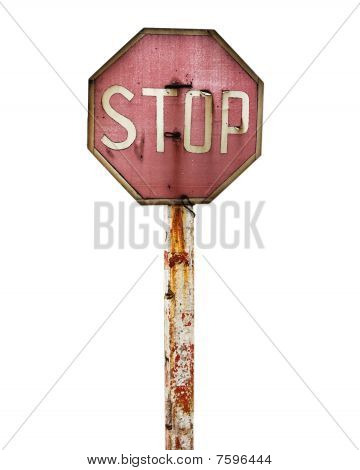 "Traffic Sign ""stop""  Isolated On The White"
