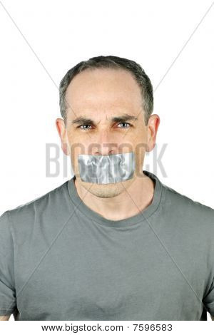 Man With Duct Tape On Mouth