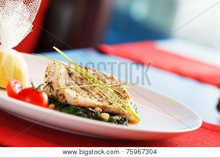 white fish with spinach
