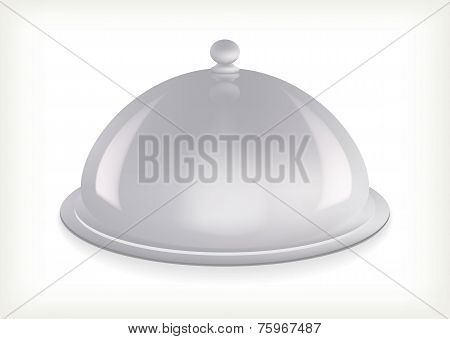 Silver serving dome isolated
